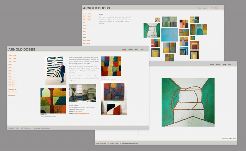 Website for Arnold Dobbs, Contemporary Painter